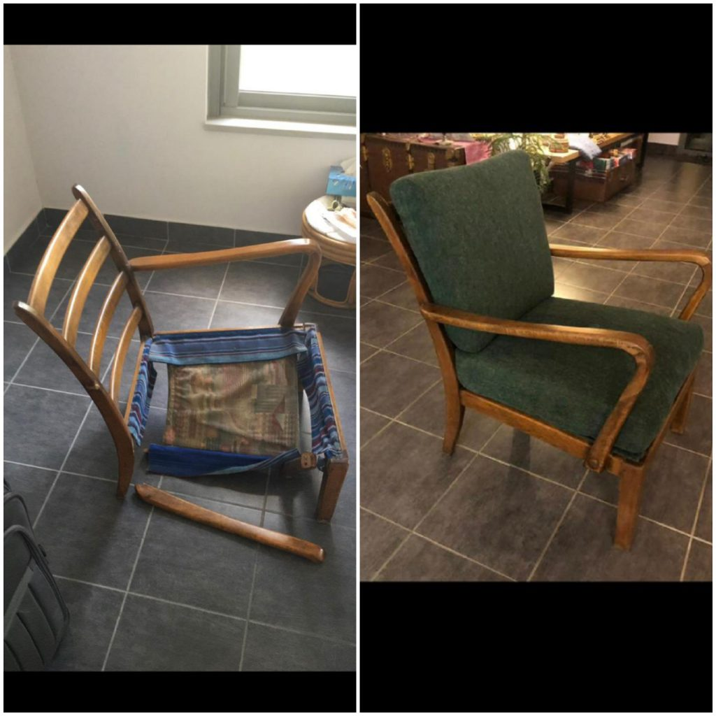 ריפוד כסאות לפני ואחרי